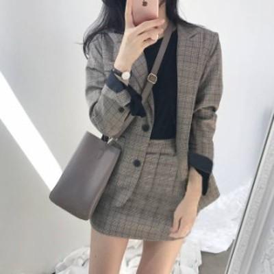 チェック柄 セットアップ 2点セット ジャケット スカート 2color 韓国 【yy0096】