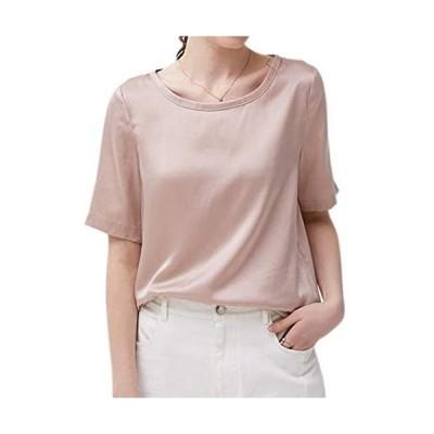 (MAYUDAMAシルク)ピュアシルク100% 厚手 16匁 シルク Tシャツ シルクサテン ラウンドネック ゆったり エレガント(ピンク S)