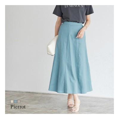 Pierrot リネン混ロングスカート ロングスカート ロング スカート リネン混 ベージュ M レディース