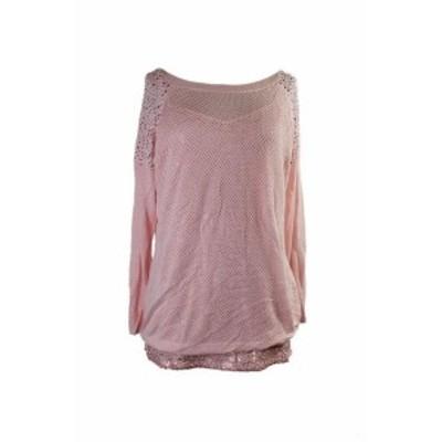 ファッション トップス Thalia Sodi Pink Perforated Studded-Shoulder Sweater XL