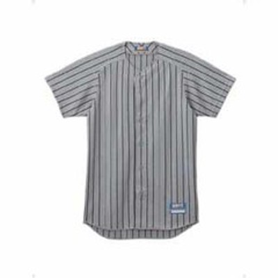 ゼット 野球・ソフトボール用 メンズユニフォームシャツ(シルバー/ネイビー M) ZETT ストライプメッシュシャツ Z-BU521-1329-M 【返品種別A】