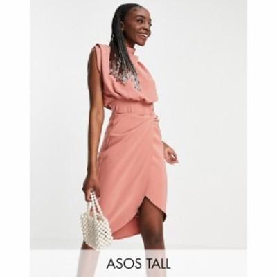 エイソス ASOS Tall レディース ワンピース ミドル丈 ワンピース・ドレス ASOS DESIGN Tall cowl neck blouson midi dress with twist sk