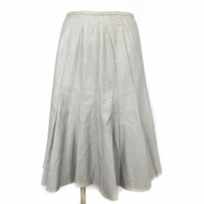 【中古】ランバン LANVIN コレクション スカート ひざ丈 フレア シルク混 裾プリーツ グレー 40 IBO5 レディース