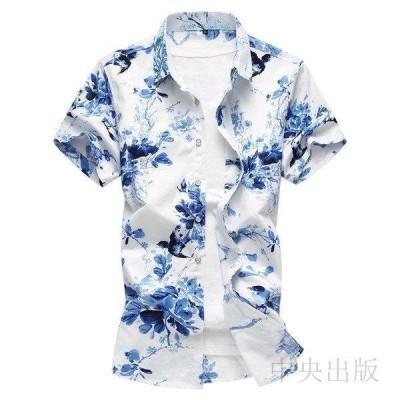 シャツ 半袖 メンズ 墨絵 ハワイシャツ ビーチシャツ リゾート 大きいサイズ 7XL 夏