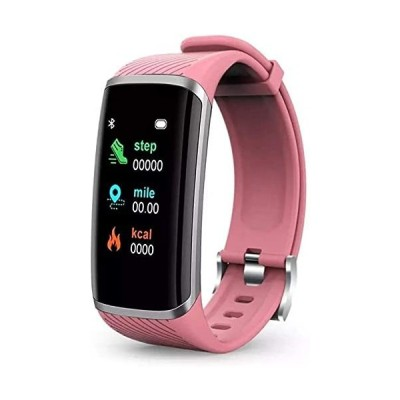 AMBM Smart Bracelet Smart Watch Men Women Heart Rate Blood Pressure Fitness Smart Band for Android IOS Smartwatch (Color : White)-Pink並行