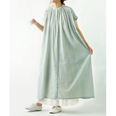 綿ボイル たっぷりギャザーシャツワンピース(半袖) (ワンピース)Dress