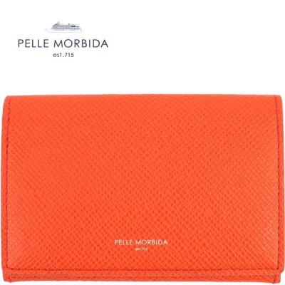 ペッレモルビダ PELLE MORBIDA 型押しレザー カードケース 名刺入れ PMO-BA305 ORG(オレンジ)