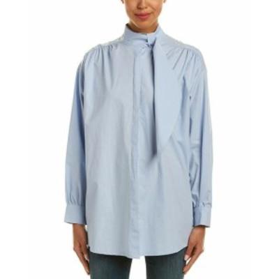 Rogue ローグ ファッション ドレス Haute Rogue Scarf Neck Top S Blue