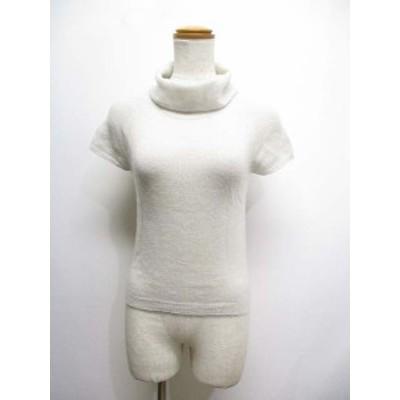 【中古】レコパン LES COPAINS カシミヤ100% 半袖 タートルネック ニット セーター 38 ライトグレー 透け感
