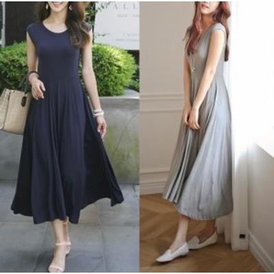 フレアマキシワンピース3色♪デイリーに 韓国ファッション