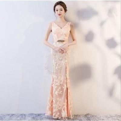 ドレス 二次会 結婚式 女性 オレンジ 袖なし Vネックライン ハートカット 透け感 Aライン スレンダーライン ロングドレス 演奏会 パーティー