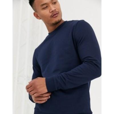 エイソス メンズ パーカー・スウェット アウター ASOS DESIGN  sweatshirt in navy Navy