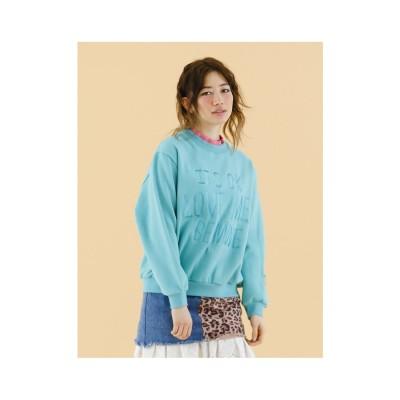 little sunny bite Stitchedmessagesweater/刺繍メッセージスウェット BLUE