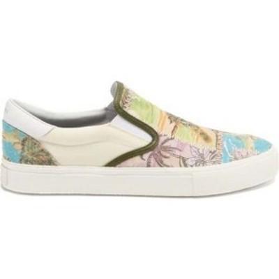 アミリ Amiri メンズ スリッポン・フラット シューズ・靴 Embroidered frond-print slip-on canvas trainers White