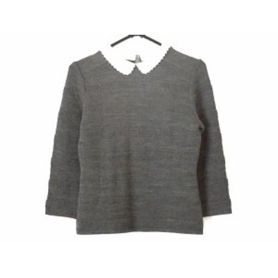エムズグレイシー M'S GRACY 長袖セーター サイズ38 M レディース グレー×白【還元祭対象】【中古】20200810