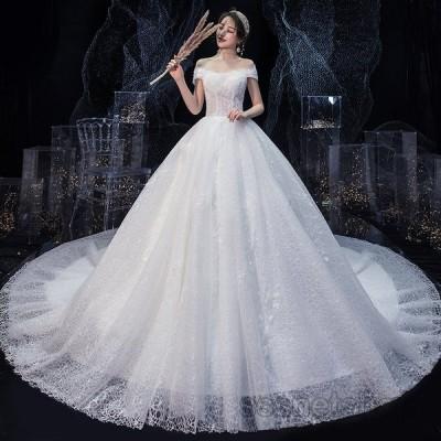 ウェディングドレス 二次会 白ドレス 花嫁ドレス トレーンライン プリンセスドレス 披露宴 パーティードレス ナイトドレス 演奏会 細身 2020新作【sssnetshop】