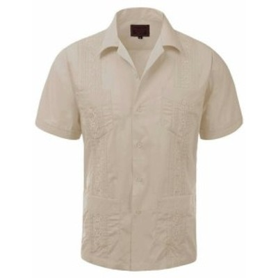 ファッション アウター Guayabera Mens Cuban Beach Wedding Short Sleeve Button-Up Casual Dress Shirt
