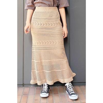 ◆透かし編みニットマーメイドスカート ベージュ