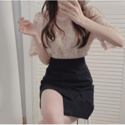 ブラウス レディース 白 半袖 レース トップス 韓国 ファッション 大きいサイズ 透け感 フレアスリーブ きれいめ 上品 セクシー 大人可愛