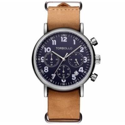 メンズ腕時計 海外ブランド クォーツ クロノグラフ TORBOLLO クラシカルデザイン 防水機能搭載 日本非売品 レア物 希少 シルバー
