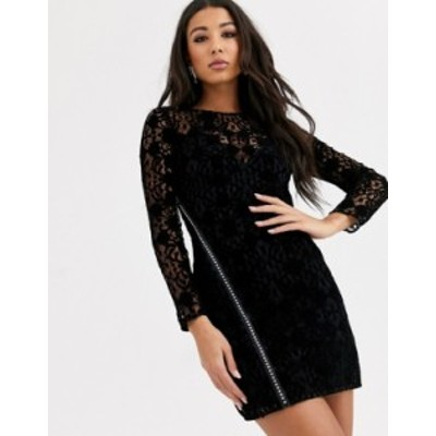 エイソス レディース ワンピース トップス ASOS DESIGN lace mini dress with embellished rhinestone zip detail Black