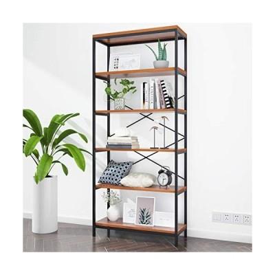 Homevol Bookshelf, Industrial 5 Shelf Bookcase Metal and Wooden Bookshelves, Rustic Bookcase Standing Storage Shelf Organizer Tall Shelving