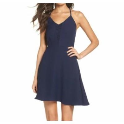 ファッション ドレス 19 Cooper Womens Dress Blue Size Medium M A-Line V-Neck Lace-Trim