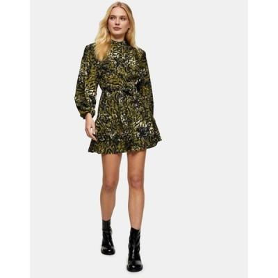 トップショップ レディース ワンピース トップス Topshop leopard frill mini shirt dress in khaki
