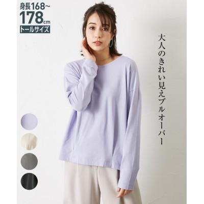 トールサイズ きれい見えするVネックタック入トップス 【高身長・長身】Tシャツ・カットソー, tall size, T-shirts,