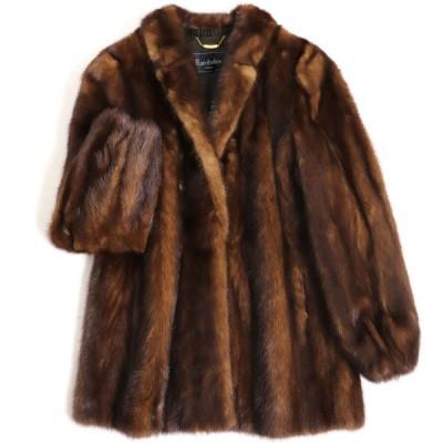 毛並み極美品▼Rambulton(ONWARD) MINK ランブルトン(オンワード) ミンク 裏地ロゴ柄 本毛皮コート ブラウン LL 艶やか・柔らか◎