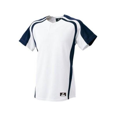 お取り寄せ SSK エスエスケイ 1ボタンプレゲームシャツ ホワイト/ネイビー