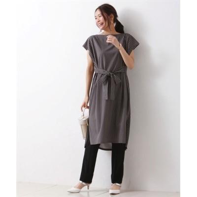 大きいサイズ 。大人の落ち感カットジョーゼット。 ウエストリボンチュニックワンピース ,スマイルランド, ワンピース, plus size dress