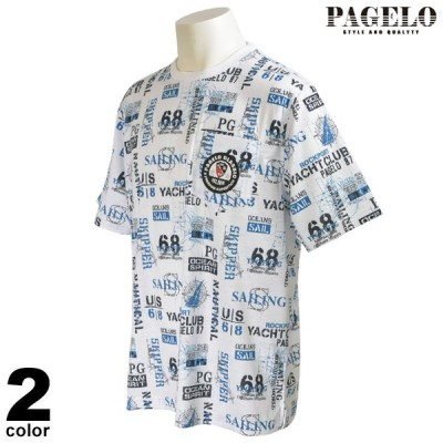 PAGELO パジェロ 半袖 カットソー メンズ 2021春夏 総柄 クルーネック 13-2510-07