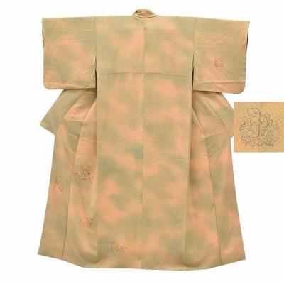 リサイクル着物 訪問着 中古 リサイクル 正絹 一つ紋 仕立て上がり 花文様 茶系 ll1964a03