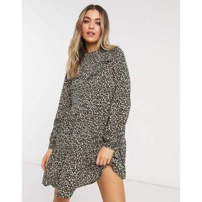 ニュールック レディース ワンピース トップス New Look ruffle detail smock mini dress in leopard floral Black pattern