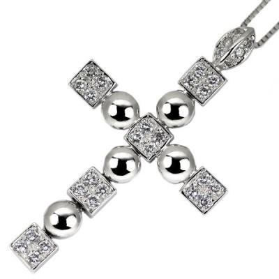 K18WG ダイヤモンドペンダントネックレス D0.50ct クロス 新入荷ジュエリーNJ