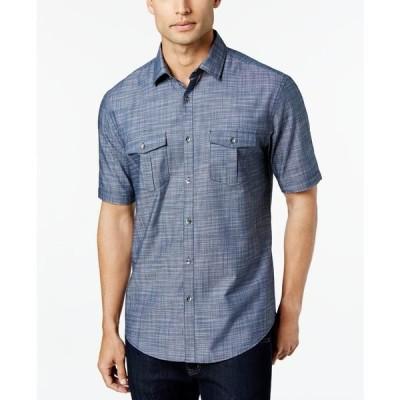 アルファニ シャツ トップス メンズ Men's Warren Textured Short Sleeve Shirt Dress Blue