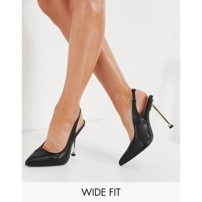 シミ Simmi Wide Fit レディース パンプス シューズ・靴 Simmi London Wide Fit Kegz sling back court shoe in black ブラック