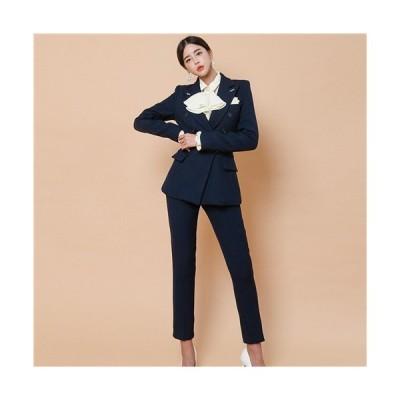 パンツスーツ 2点セット ビジネススーツ ズボン タイト 韓国 風 ツーピース インポート きれいめ 着痩せ 通勤 ガウチョパンツ 長袖 シフォン 上品 エレガント …