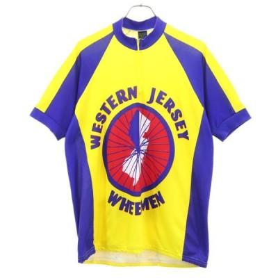 ハーフジップ プリント サイクル ジャージ L 黄×青系  半袖 サイクリング メンズ 古着 201002 【Pdown】