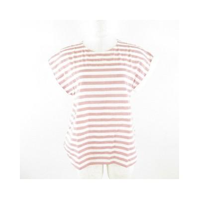 【中古】ユナイテッドアローズ UNITED ARROWS シャツ 半袖 ボーダー 白 赤 *E142  レディース 【ベクトル 古着】