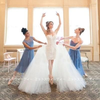 ウエディングドレス パーティードレス 2点セット ビスチェ 二次会ドレス 結婚式 演奏会 花嫁 オフショルダー ウェデイングドレス ミニドレス スレンダードレス