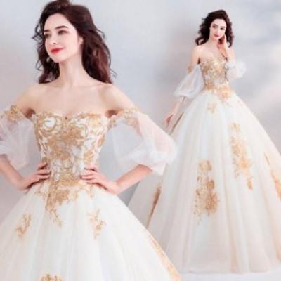 ウェディングドレス レース オーガンジー マキシ丈 袖あり 七分袖 20代 30代 40代 ホワイト 白 ゴールド 金 プリンセスライン