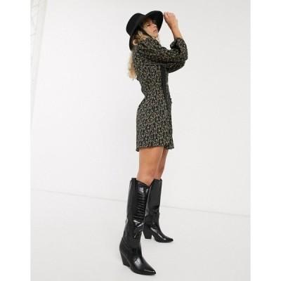 トップショップ レディース ワンピース トップス Topshop floral mini tea dress in black Black
