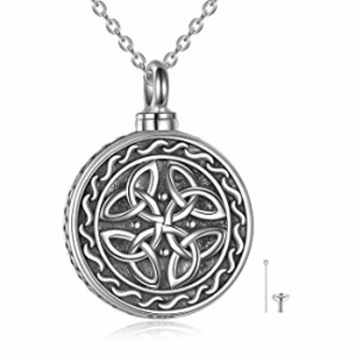 Celtic Knot Necklaces Urn Necklace For Ashes 925 Sterling Silver Round Pendant Necklace Cremation Necklace Jewelry For Women Men
