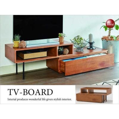 幅107〜170cm・コンパクト伸縮テレビボード(天然木製/北欧・ヴィンテージ)