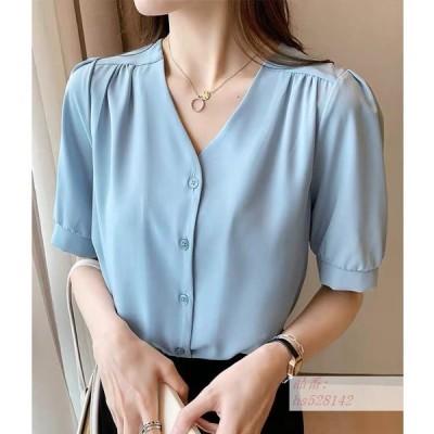 Vネック シャツ レディース 20代 30代 40代 夏 新しい 韓国風 韓風 ゆるい コート 半袖 ゆるい ピッタリ 薄い シャツ ファッション