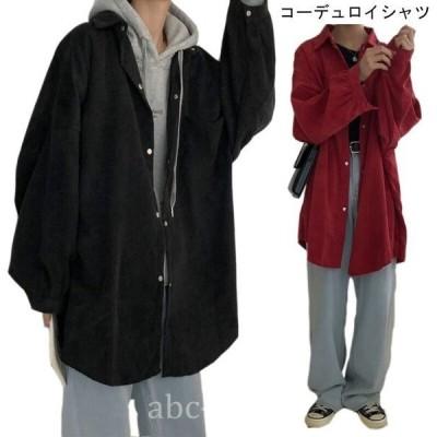 スプリングコートレディースコーデュロイシャツゆったりジャケット長袖女性用アウター春秋物カジュアルライトアウターオシャレ