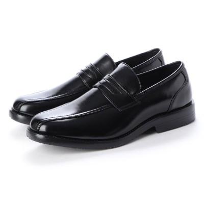 ウィルソン Wilson_ ビジネスシューズ メンズ 4cm防水防滑 ローファー 紳士靴(BLACK)