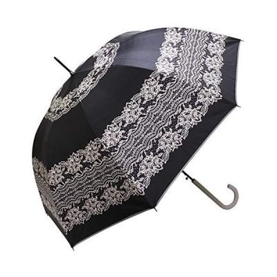 [マコッカ] 完全遮光 遮光率 100% 遮蔽率 99.9%以上 晴雨兼用傘 ジャンプ傘 58cm レース柄 ブラック